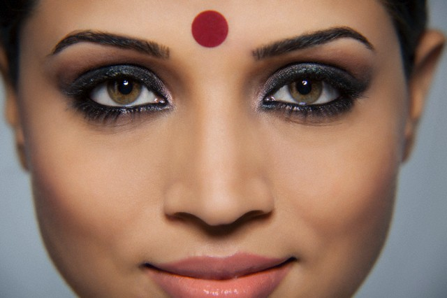 Close-up of a beautiful woman with a bindi
